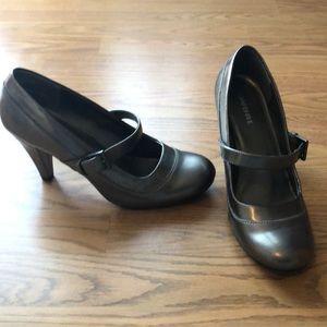 Metallic grey heels